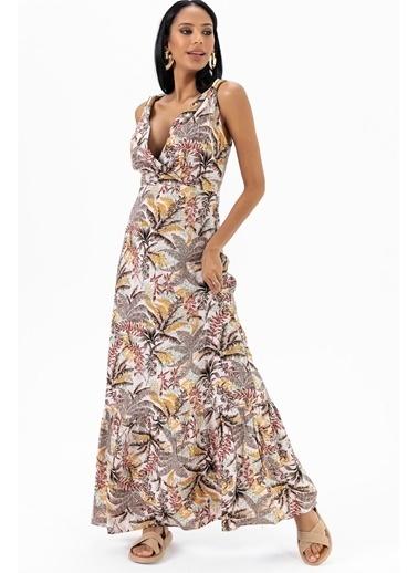 Emjey Metal Askılı Desenli Elbise Kahve
